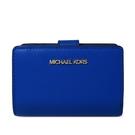 艾莉莎國際【全新現貨】MICHAEL KORS 金字Logo防刮皮革中夾(寶藍色)-35T0GTVF8L