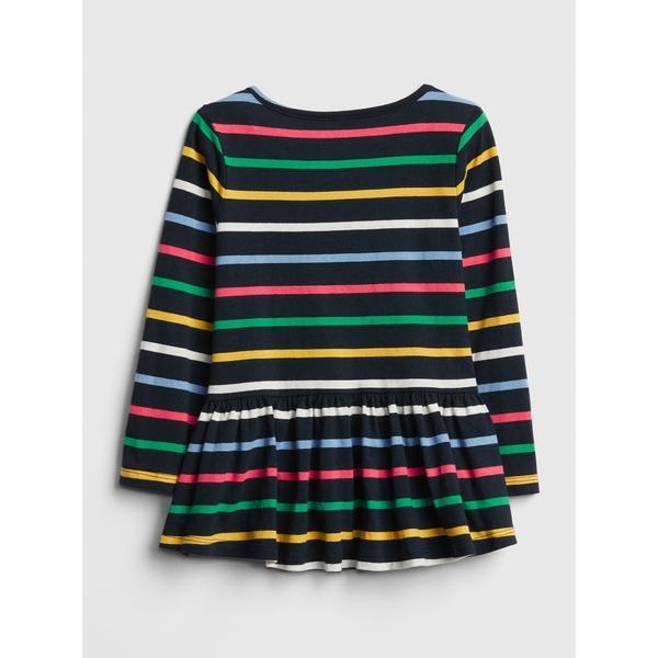Gap女嬰幼童 柔軟裝飾下擺條紋長袖上衣 497469-糖果色條紋