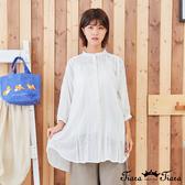 【Tiara Tiara】百貨同步新品aw 蕾絲設計縮口袖襯衫(白/藍綠/卡其)