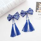 藍色中國風蝴蝶結流蘇髮夾 2個一對 橘魔法 Baby magic 現貨 髮飾 髮夾 女童 嬰兒 過年 新年 週歲