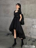 短袖洋裝夏季韓版2020新款暗黑系收腰顯瘦設計感網紅方領大擺短袖連身裙女 伊蒂斯