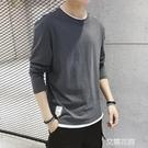 t恤男士長袖春季潮流寬鬆休閒春秋打底衫純...