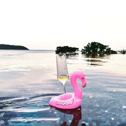 Qmishop 海邊度假玩水必備  火烈鳥充氣飲料水上杯墊  泳圈 【QJ313】