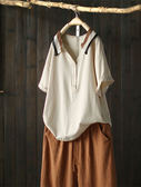個性針織條紋領純棉短袖襯衫套頭上衣-設計家Y7058