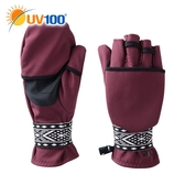 UV100 防曬 抗UV 防風保暖刷毛緹花手套-翻蓋兩用