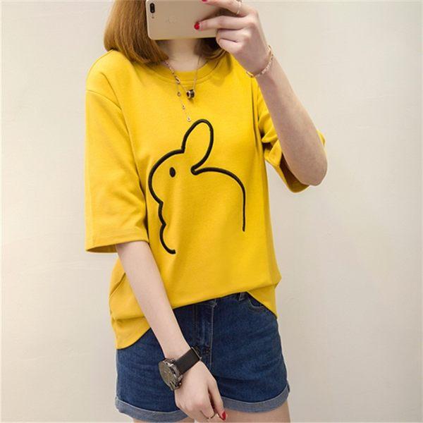 T恤【7411】FEELNET中大尺碼女裝 2018夏裝新品 中長款寬鬆短袖棉衫上衣 XL-4L碼