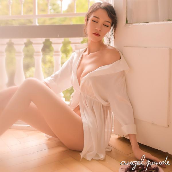天使波堤【LD0187】低胸開叉襯衫洋裝縮腰七分袖情趣睡衣(共二色)-性感內衣情侶派對空調衫居家服