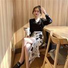 韓版chic高腰修身顯瘦報紙印花包臀裙復古不規則包臀半身裙女 黛尼時尚精品