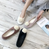 鞋子女2019冬季毛毛鞋加絨保暖圓頭平跟軟底棉鞋毛球豆豆瓢鞋單鞋YJ2283【雅居屋】