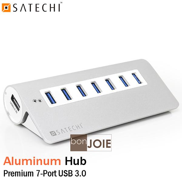 ::bonJOIE:: 美國進口 Satechi Premium 7 Port Aluminum USB 3.0 Hub 鋁合金材質 七孔 集線器 (銀白款) 7-Port