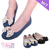 包鞋.MIT.水玉點點蝴蝶結娃娃鞋.黑/藍【鞋鞋俱樂部】【052-705】