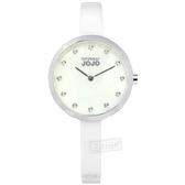 NATURALLY JOJO / JO96909-81F / 優雅簡約 珍珠母貝 藍寶石水晶玻璃 晶鑽刻度 陶瓷手錶 白色 33mm