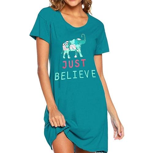 Enjoy 女棉柔軟針織大象印花連身睡衣