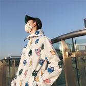 夾克外套情侶裝春裝2休閒寬鬆男裝外套男夾克夏季防曬衣韓版潮流印花棒球服zh495【棉花糖伊人】
