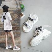 涼鞋女  港味網紅涼鞋chic港風復古新款女鞋子夏季ins超火街拍厚底鞋·夏茉生活