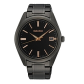 【台南 時代鐘錶 SEIKO】精工 SUR511P1 藍寶石鏡面 日期顯示 鋼錶帶男錶 6N52-00A0SD 黑/玫瑰金 40.2mm