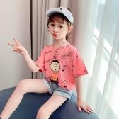 女童T恤夏季2020新款短袖洋氣寬鬆中大兒童韓版運動夏裝打底衫潮
