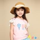 Azio 女童 上衣 蝴蝶結可愛冰淇淋印花蕾絲荷葉短袖上衣(粉) Azio Kids 美國派 童裝