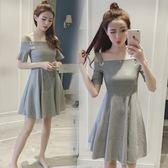 新款韓版女裝一字領露肩吊帶連衣裙LJ3679『miss洛羽』