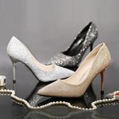 單鞋女銀色高跟鞋閃粉尖頭細跟香檳金年會宴會黑色晚禮服新娘婚鞋