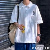 網紅polo衫男短袖港風五分袖t恤寬鬆翻領半袖韓版潮流體恤上衣服 創意家居