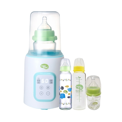 【奇買親子購物網】NacNac多功能溫奶器NIT+NacNac標準耐熱玻璃奶瓶240ml*2+寬口120ml*1/隨機
