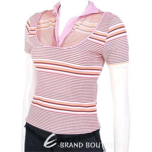 Byblos 粉/橘色條紋短袖POLO衫 0620885-05