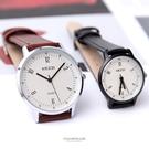 手錶 簡約清晰雙倍數字刻度質感皮革手錶 ...