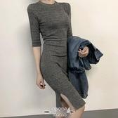 針織洋裝 氣質女人味百搭修身半袖針織包臀打底裙秋季新款純色連衣裙 - 古梵希