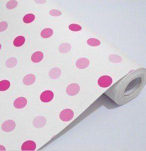 防水自粘壁紙 粉色點點 10米