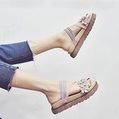拖鞋女外穿2020夏新款百搭時尚外出懶人沙灘海邊港風巴厘島涼拖鞋