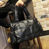 男士商務橫款手提包 韓版時尚側背包 休閒單肩包旅行包包  卡布奇諾