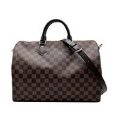 【台中米蘭站】全新品 Louis Vuitton 經典 Damier Speedy 手提斜背二用包-35cm(N41366-咖)