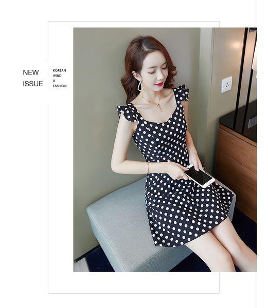 VK旗艦店 韓系時尚氣質荷葉邊細帶波點顯瘦無袖洋裝