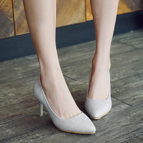 高跟鞋新款尖頭銀色細跟淺口磨砂閃粉女單鞋中跟黑色工作婚鞋 優家小鋪