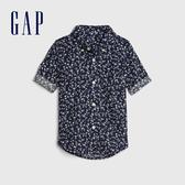 Gap男幼亞麻混紡印花短袖襯衫546038-海軍藍花紋