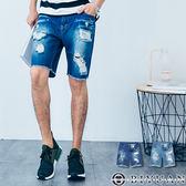 有加大尺碼牛仔短褲【T1623】OBIYUAN 刀割破壞潑漆抽鬚單寧短褲共2色