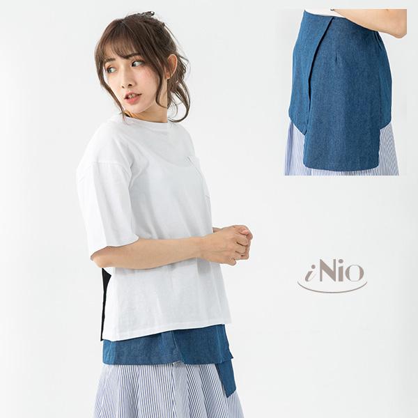 拼接設計鬆緊腰造型牛仔裙牛仔長裙(S-L適穿)-現貨快出【T7W2010】 iNio 衣著美學
