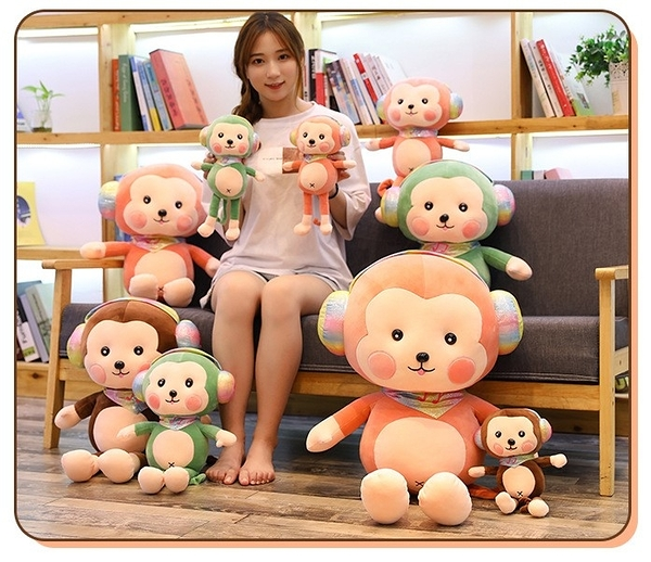 【90公分】耳機猴娃娃 超萌猴子玩偶 公仔 聖誕節交換禮物 生日禮物 兒童節禮物