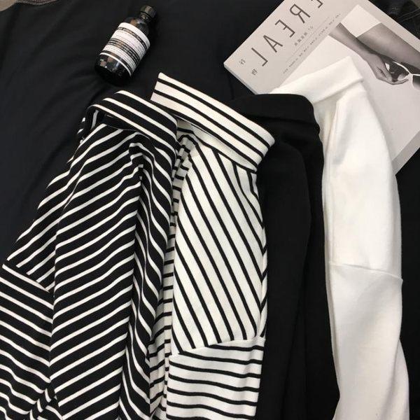 堆堆領純色長袖百搭黑白條紋t恤女寬鬆韓版高領打底衫春秋冬新款 麻洋