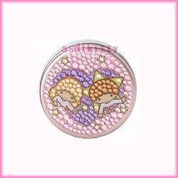 家用【asdfkitty】雙子星愛心圓形亮鑽收納盒/置物盒/隨身藥盒-日本版正版