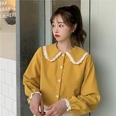 四季百搭棉磨毛白蕾絲鑲邊娃娃領長袖襯衫 ( 莫蘭迪 深咖 紫 薑黃 ) 12110083