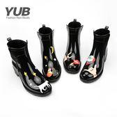 中筒馬丁靴女士休閒雨鞋短筒水鞋都市雨靴防滑時尚韓版膠鞋套鞋女 綠光森林