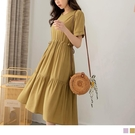 《DA8558》純色觸膚涼感收腰綁帶蛋糕裙短袖洋裝 OrangeBear