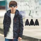 外套 多口袋紅繩拉鍊窄版連帽風衣外套【N...