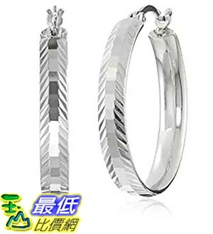 [美國直購] Sterling Silver Leaf Design Hoop Earrings 耳環
