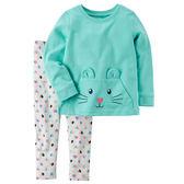 Carter's平行輸入童裝 女寶寶 長袖T恤上衣&褲子 綠鼠愛心【CA239G475】