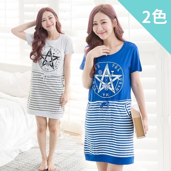 imaco旗艦店 星星閃耀100%棉居家睡衣洋裝(2色)