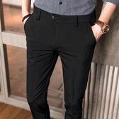 2018夏季休閒西褲男薄款九分褲修身小腳褲青年商務褲子男韓版潮流   初見居家