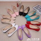 韓版休閒平跟平底鞋淺口套腳單鞋休閒懶人豆豆鞋工作女鞋 三角衣櫃